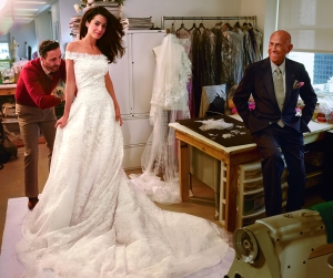Amal with legendary designer Oscar de la Renta. Photo Courtesy: Vogue Magazine